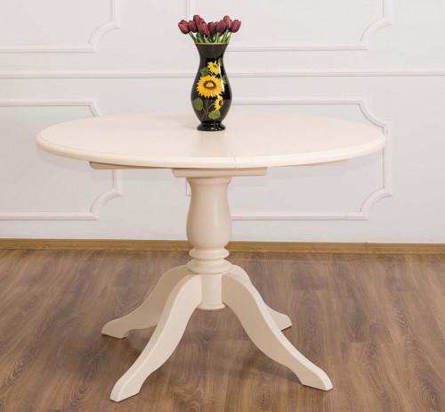 Table Ronde ROMANE en bois massif 120cm avec 1 allonge de 30cm