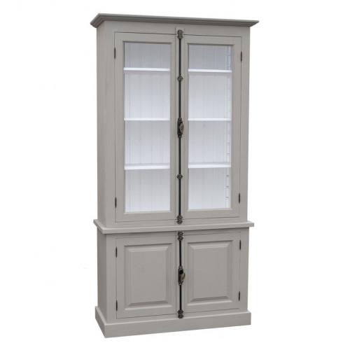 Vitrine deux portes vitrées et deux portes pleines - ROMANE