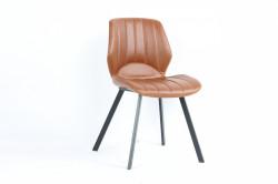 Chaise vintage industrielle couleur Cognac pieds metal noir - 50x54x84 cm