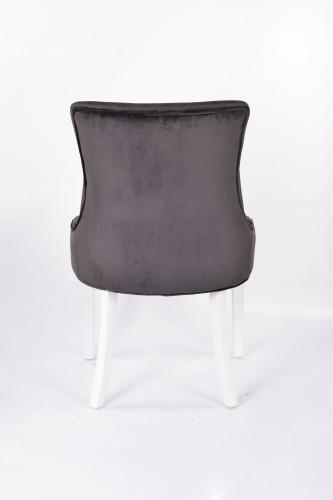 chaise contemporaine en velours gris noir pieds blanc - 57x60x93 cm