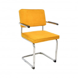 Chaise luge de style vintage en tissu velours jaune