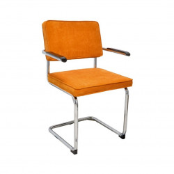 Chaise luge de style vintage en velours orange