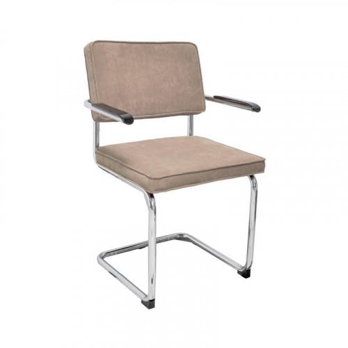 Chaise luge de style vintage en velours taupe