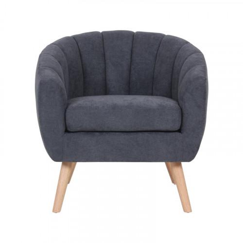 Skien - fauteuil en suédine gris anthracite