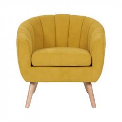 Skien - fauteuil en suédine jaune