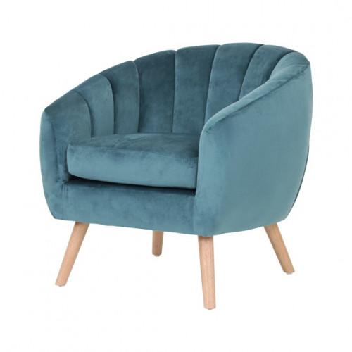 Skien - fauteuil en velours bleu