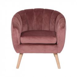 Skien - fauteuil en velours vieux rose
