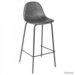 BOSTON - Chaise haute industrielle en imitation cuir gris anthracite