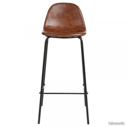 BOSTON - chaise industrielle imitation cuir marron