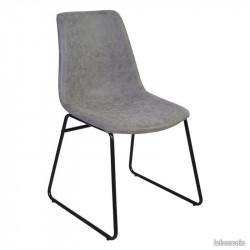 CHICAGO - Chaise industrielle revêtement imitation cuir gris