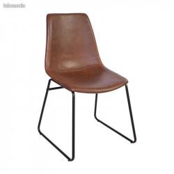 CHICAGO - Chaise industrielle imitation cuir marron