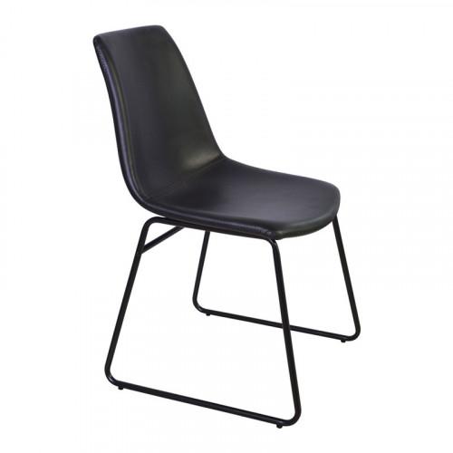 CHICAGO - Chaise industrielle revêtement imitation cuir noir