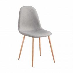 VANKA Chaise scandinave tissu gris pieds métal imitation bois naturel