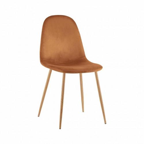 VANKA Chaise scandinave velours Rouille pieds métal imitation bois naturel