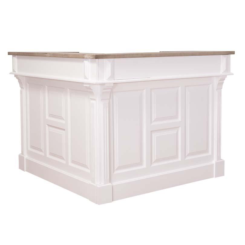 comptoir bar d 39 angle en pin massif 240x240 cm avec plateau zinc demeure et jardin. Black Bedroom Furniture Sets. Home Design Ideas
