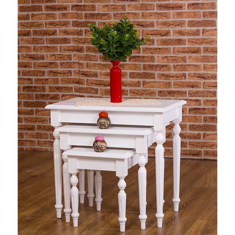 lot de 3 tables gigogne en bois massif demeure et jardin. Black Bedroom Furniture Sets. Home Design Ideas