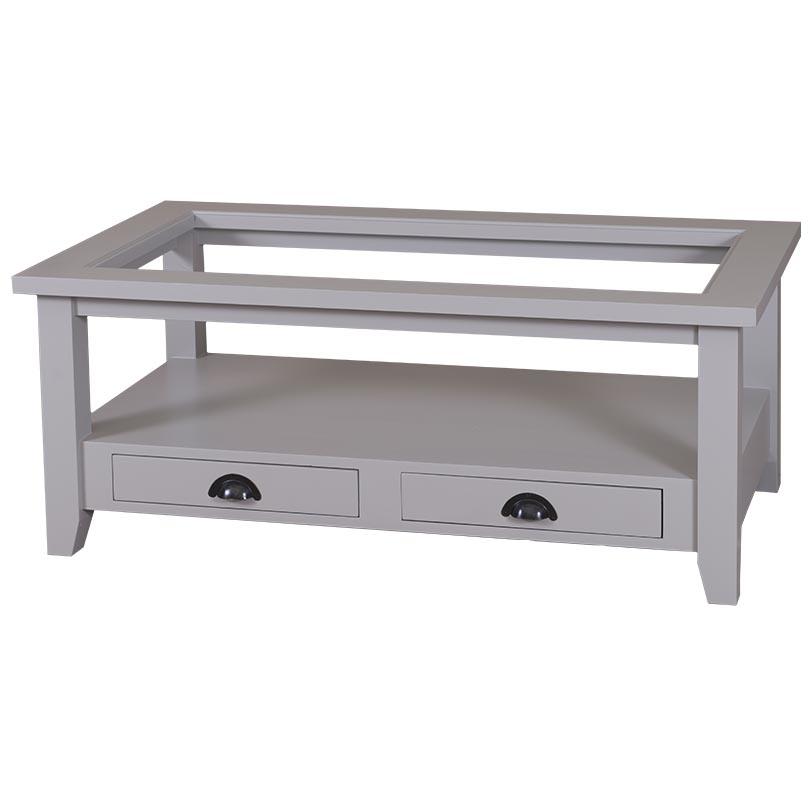 Table rectangulaire avec tiroirs et plateau en verre for Table avec plateau en verre