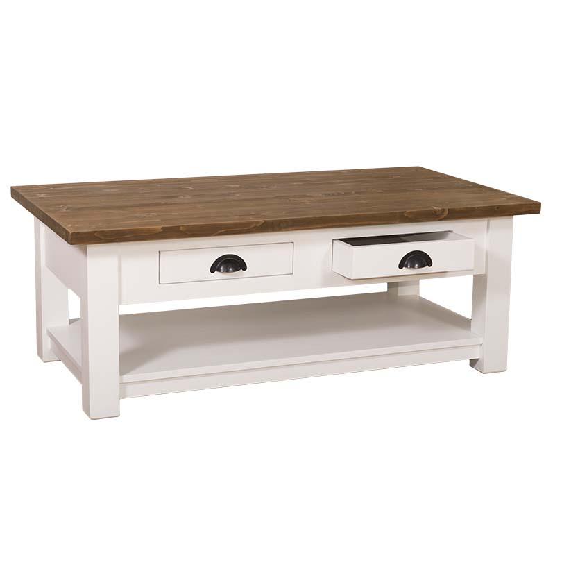 table de salon en bois massif avec 2 tiroirs demeure et jardin. Black Bedroom Furniture Sets. Home Design Ideas