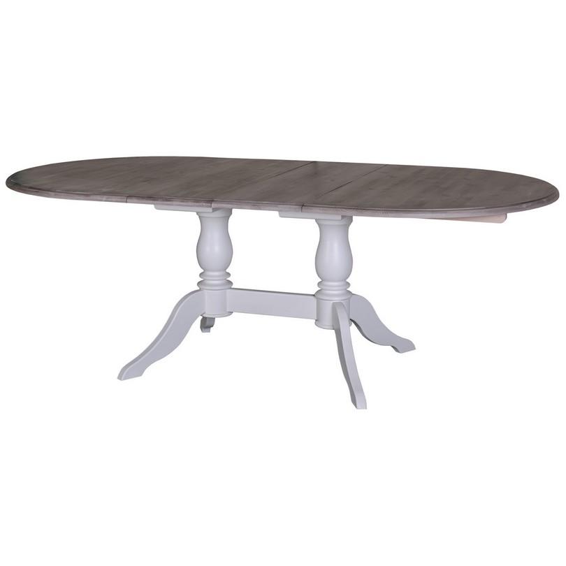 Table ovale extensible avec 2 pieds en bois massif - 160/230x120 cm