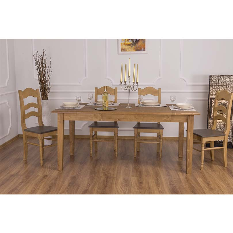table de salle manger rectangulaire en bois massif. Black Bedroom Furniture Sets. Home Design Ideas