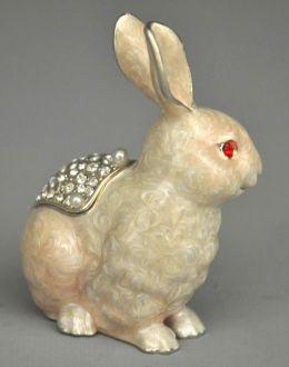 Boite lapin blanc strass
