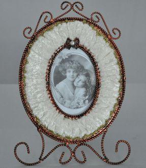 Cadre baroque velours ivoire
