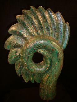 Statue moderne en bois Crête spirale