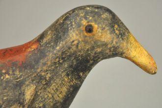 Statue oiseau en bois lazuré