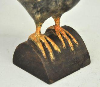 Statue d'oiseau décoratif en bois lazuré