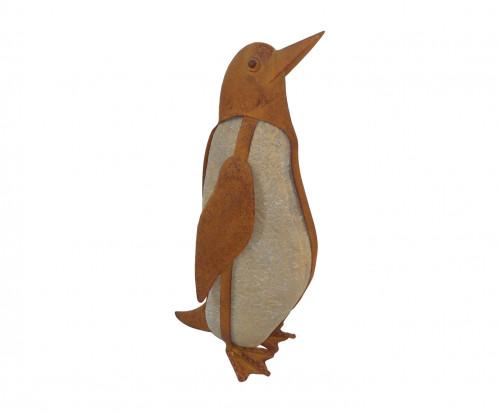 Pingouin en fer forgé et galet