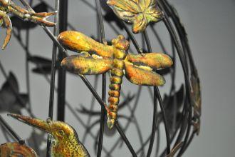 Planisphère nature en fer forgé noir et doré