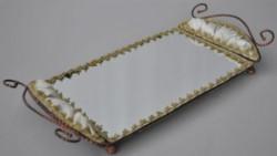 Plateau baroque miroir et velours