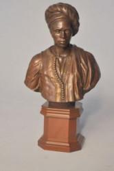 Buste bronze homme enturbanné socle en bois
