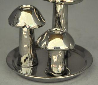 bougeoir argenté design champignons