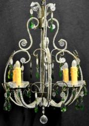 Beau lustre cage aux pampilles vertes