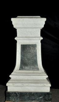 Paire de colonnes vertes et blanches en marbre