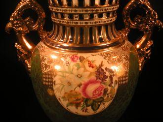 Grand vase vert et or