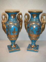 Paire de vases bleues