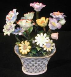 Vase avec bouquet trompe oeil