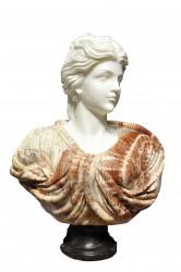 Buste Jeune Femme chevelure retenue marbre blanc et jaspé