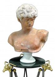 Buste EPHEBE Grec Marbre Fleur de Pêche