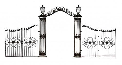Arche colonnes et grilles en fer forgé