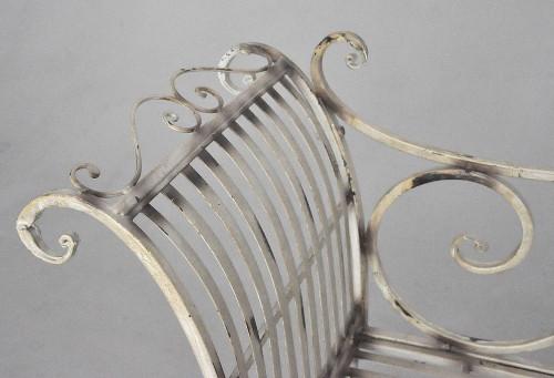 Méridienne en fer forgé patine Blanche Antique