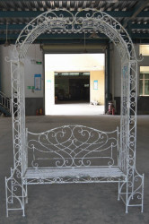 Banc Arche en Fer Forgé patiné blanc antique