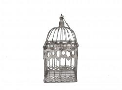 Cage Décorative en fer forgé patinée gris clair vieillie