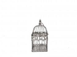 Petite Cage en fer forgé patinée gris clair vieillie