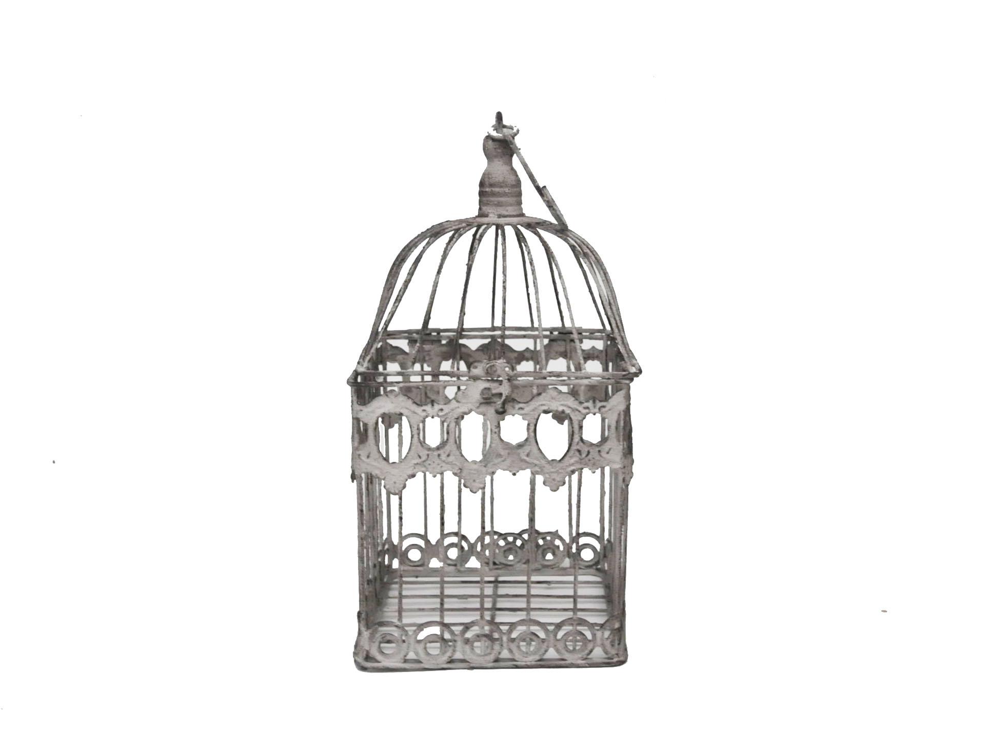 cage d corative en fer forg patin e gris clair vieillie demeure et jardin. Black Bedroom Furniture Sets. Home Design Ideas