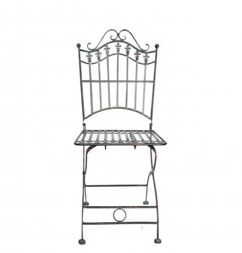 Chaise pliante fer forge de jardin fer plein