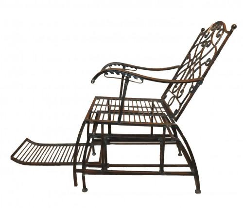 Fauteuil Rocking Chair en Fer Forgé Vert de Gris