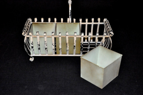 Jardinière 3 bacs amovibles avec arrosoir en fer forgé